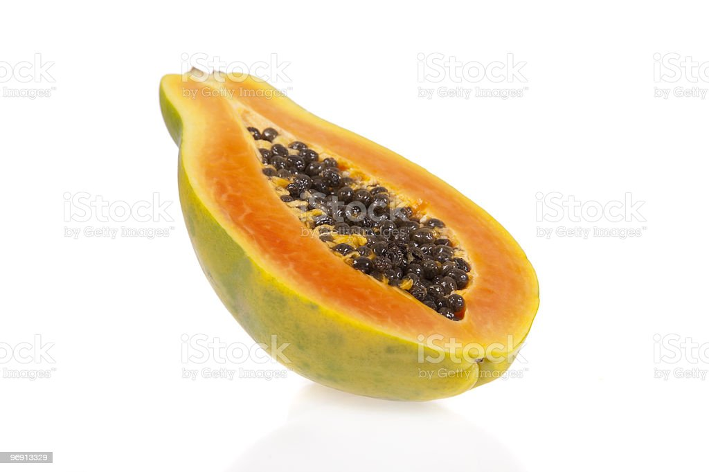 Sliced papaya isolated on white background royalty-free stock photo