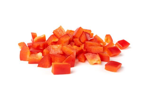 sliced paprika or red sweet pepper rings set isolated - red bell pepper isolated imagens e fotografias de stock