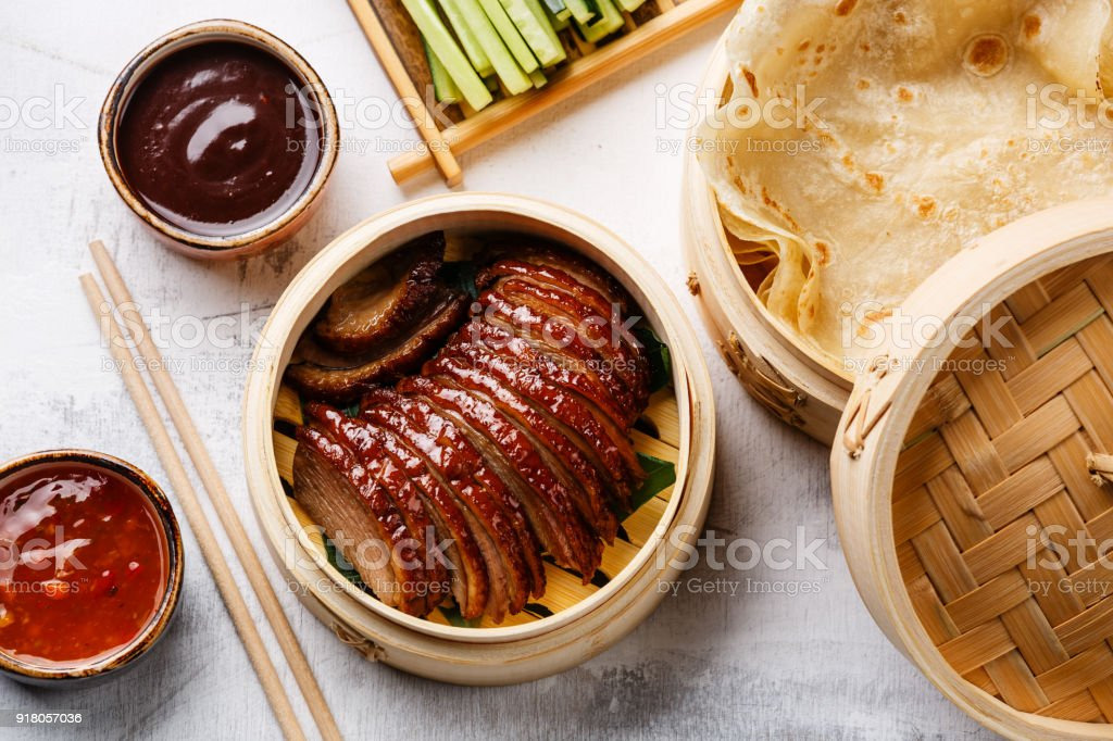 Sliced Peking Duck with cucumber, green onions, cilantro and wheaten pancakes with sauce Hoysin stock photo