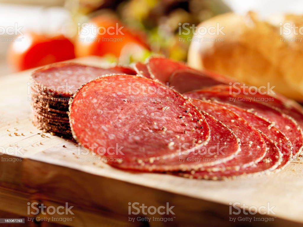 Sliced Peppered Salami royalty-free stock photo