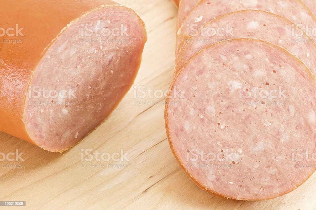 Sliced Pepperoni Sausage royalty-free stock photo