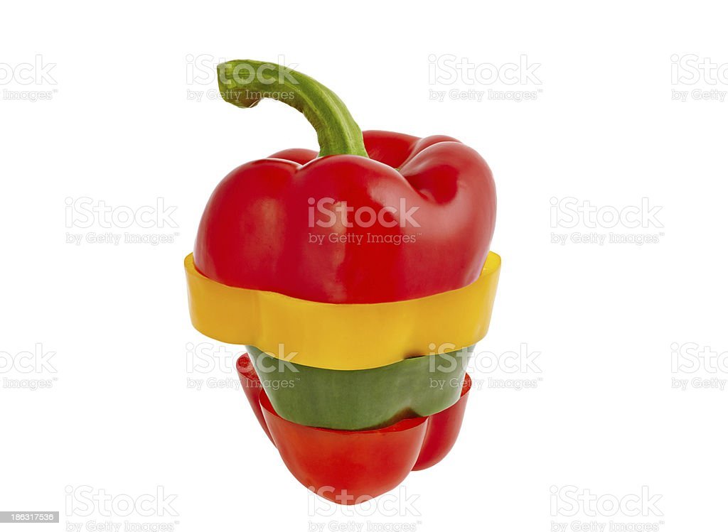 Sliced peppers red, yellow and green royalty-free stock photo