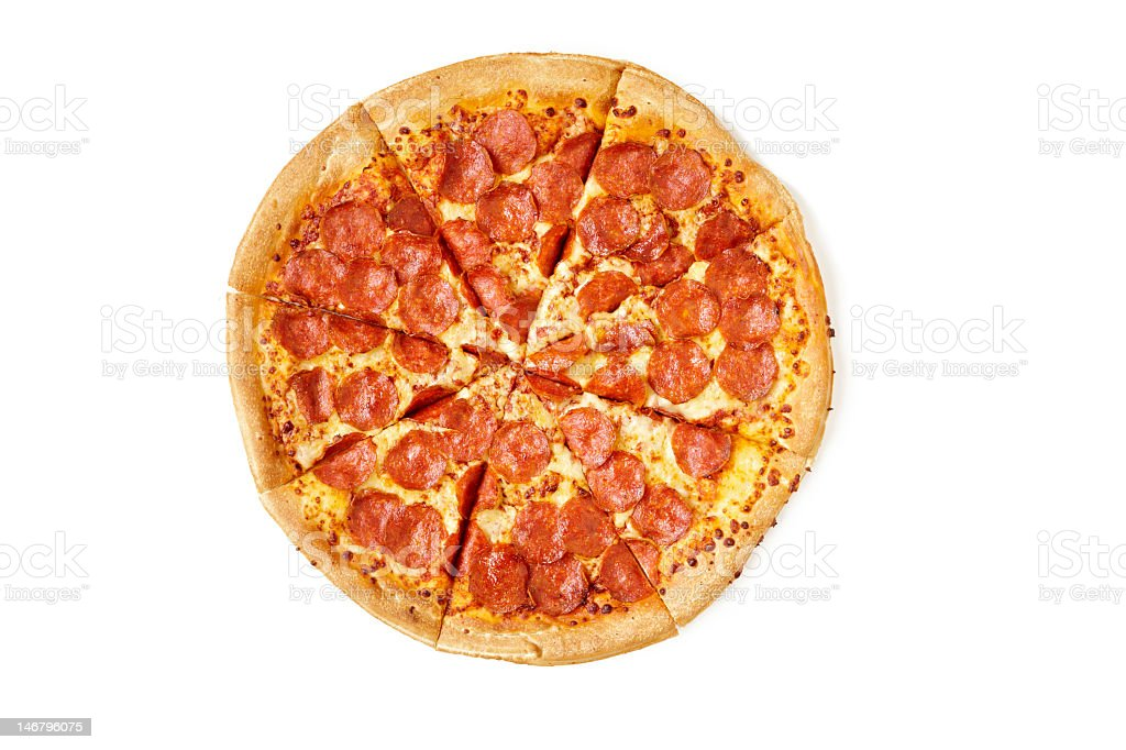 Sliced pie of pepperoni pizza on a white background stock photo