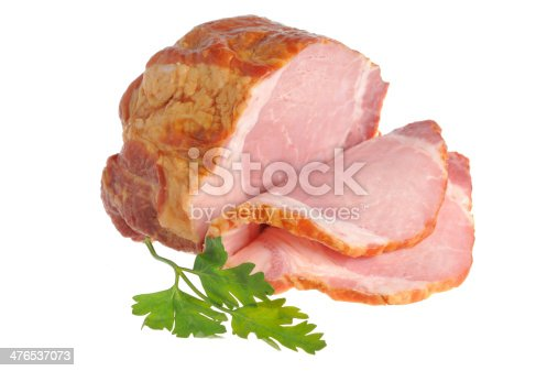 istock Sliced piece of bacon and parsley isolated on white 476537073