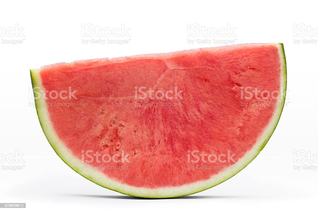 sliced piece of watermelon isolated on white background stock photo