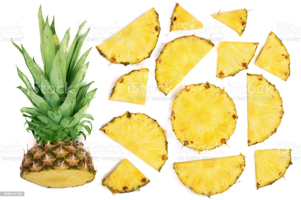 Sliced pineapple isolated on white background. Top view. Flat lay pattern stock photo