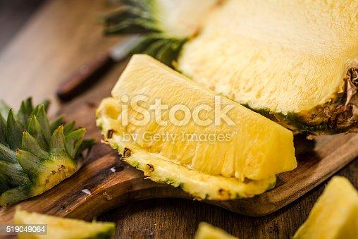 Sliced Pineapple on Chopping Board