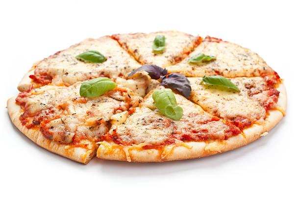 Sliced pizza margarita stock photo