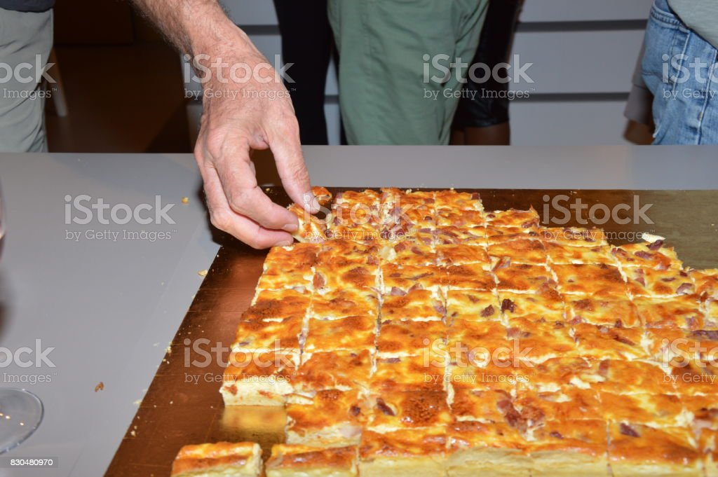Sliced pizza pieces stock photo