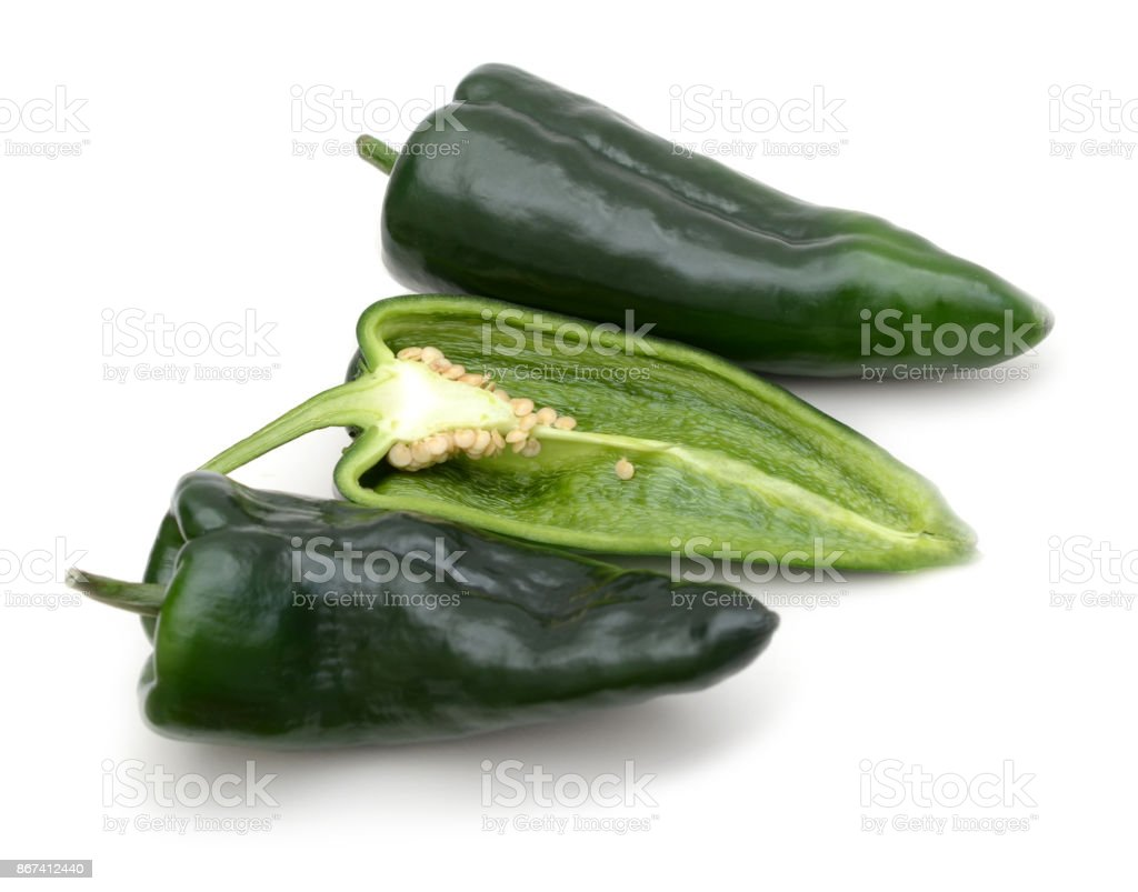 Sliced Poblano Ancho pepper, paths stock photo