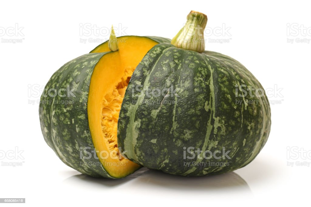 sliced pumpkin  on a white background royalty-free stock photo
