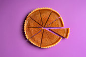 Sliced pumpkin pie and a separate piece. Top view. Traditional dessert