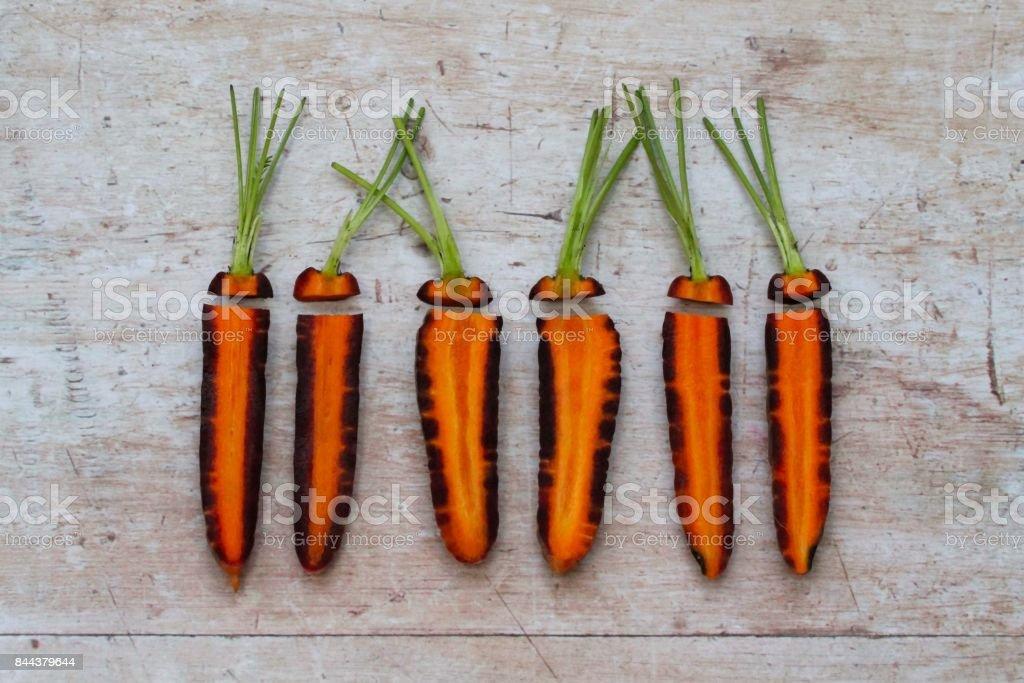 Overhead view of sliced purple carrots