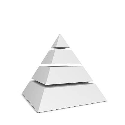 Sliced pyramid chart. 3d illustration isolated on white background