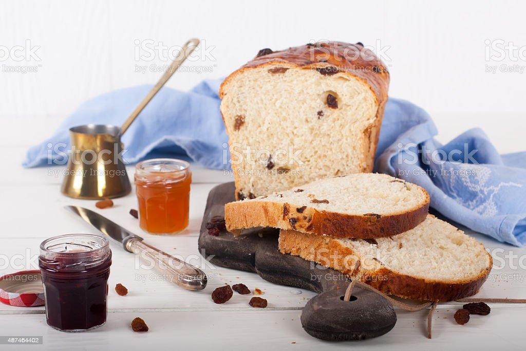 Sliced raisin bread stock photo
