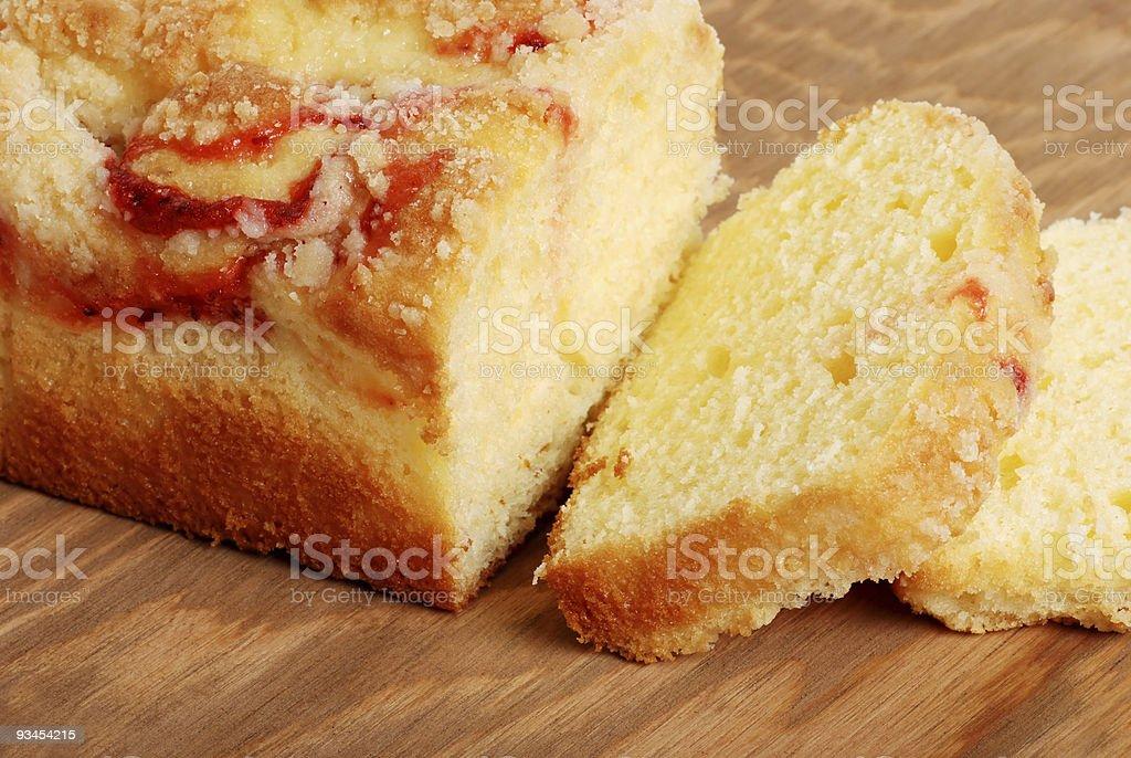 Scheiben Himbeere pound cake Lizenzfreies stock-foto