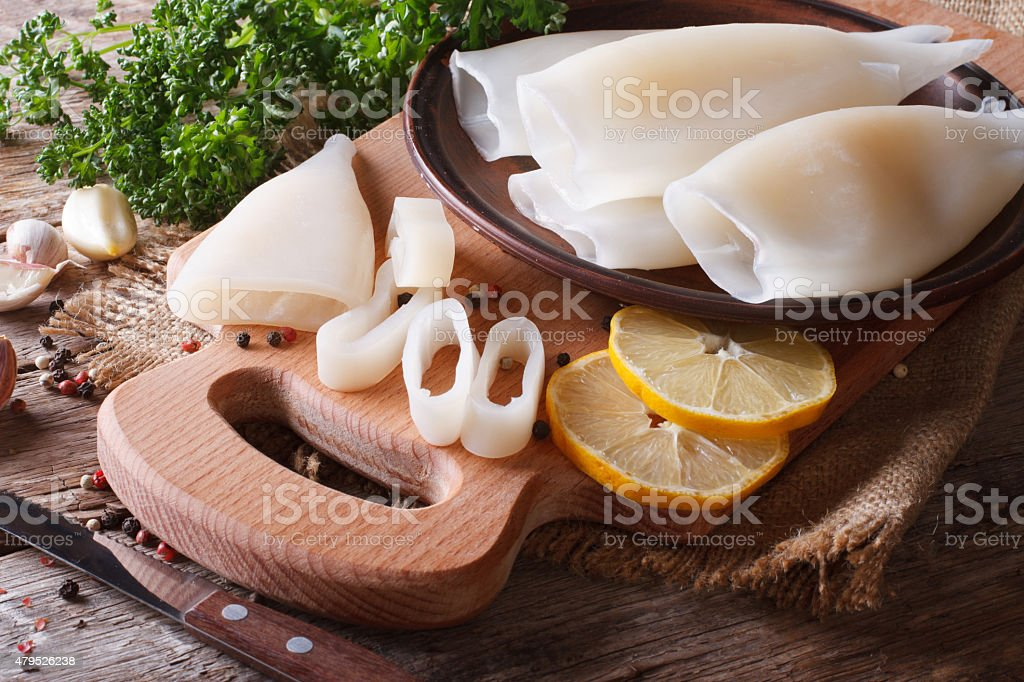 Sliced raw squid with ingredients closeup. Horizontal stock photo