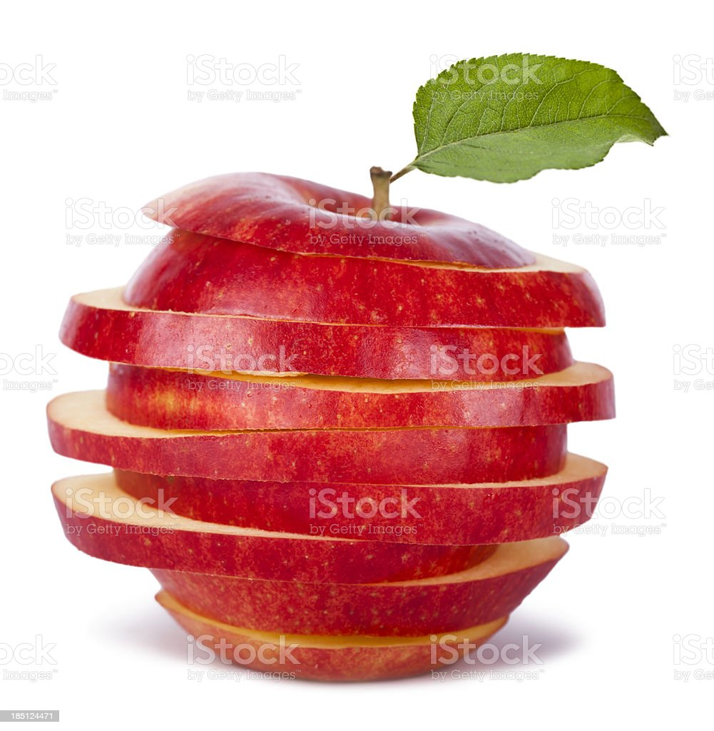 Sliced Red Apple and Leaf stock photo