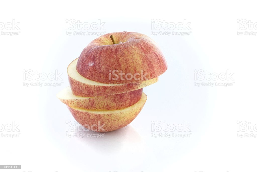 Sliced Red apple isolated on white background. royalty-free stock photo
