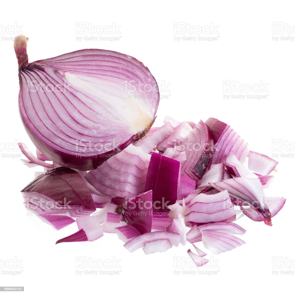 Sliced red onion isolated on a white background royalty-free stock photo