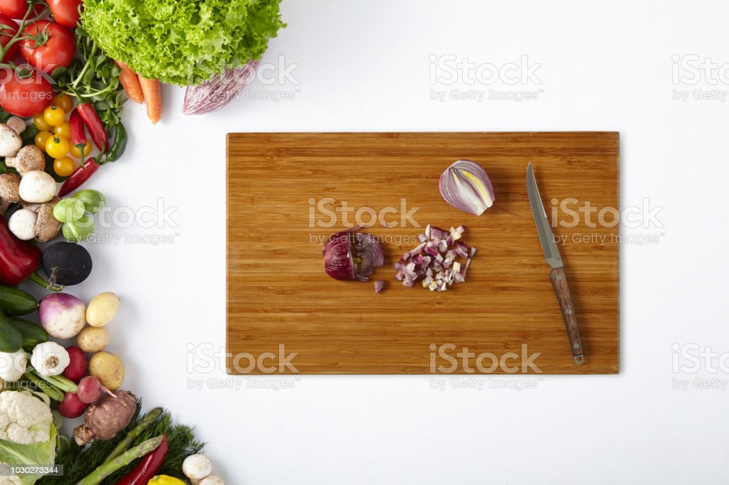Sliced Red Onion On Cutting Board With Knife Vegetables Frame Stock Photo Download Image Now