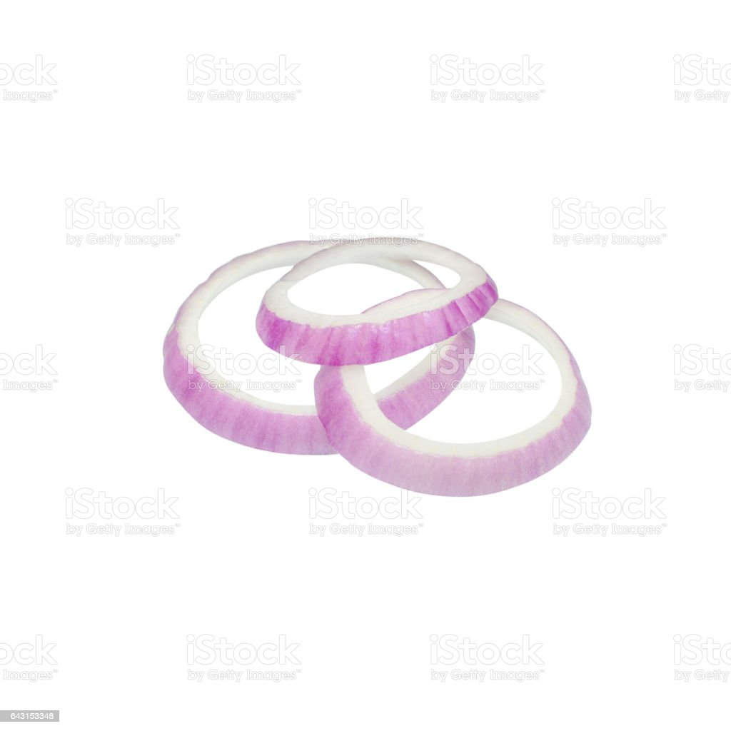 Sliced red onion rings isolated on white background cutout stock photo
