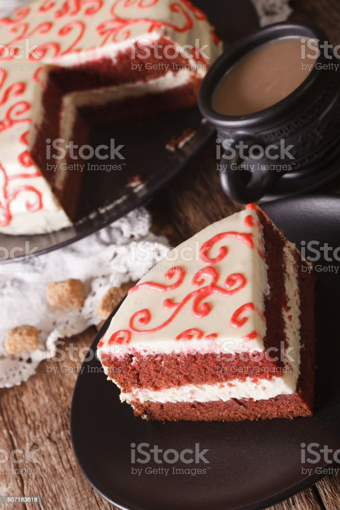 Sliced Red Velvet Cake And Coffee With Milk On The Table Vertical