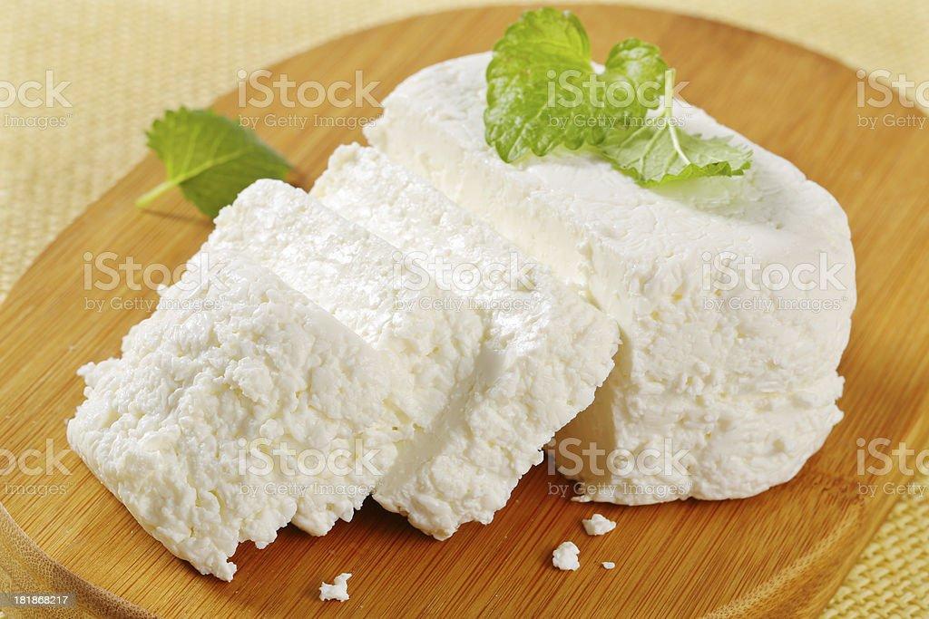 sliced ricotta cheese stock photo