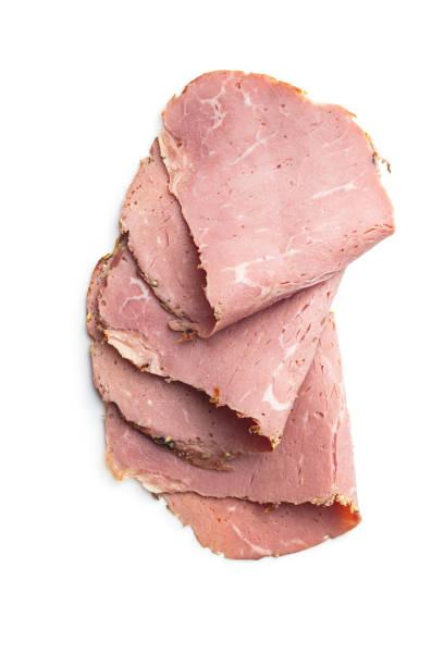 carne asada rebanada. sabrosa carne fresca. - rosbif fotografías e imágenes de stock