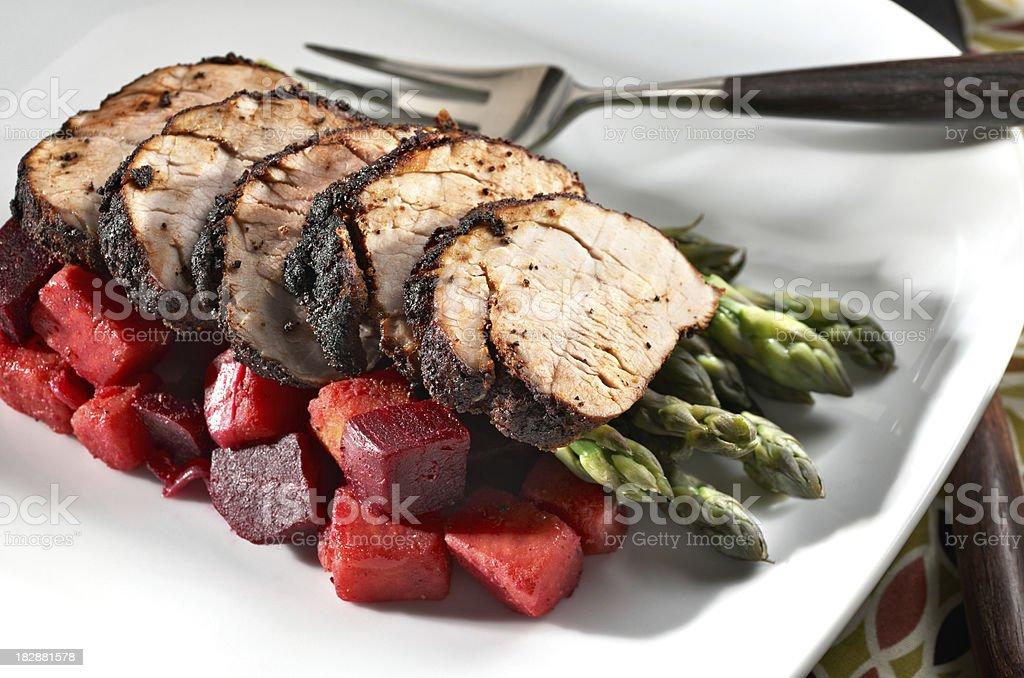 Sliced Roasted Pork Loin stock photo