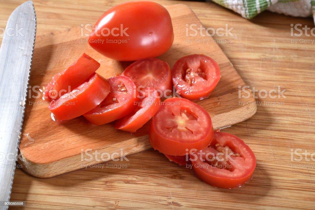 Sliced Roma Tomatoes stock photo