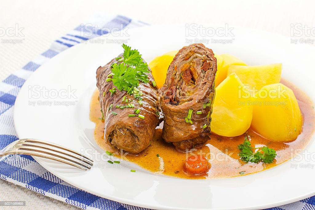 Sliced roulades beef, vegetable filling stock photo