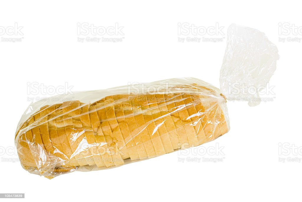 Sliced Rustic French Bread In Plastic Bag royalty-free stock photo