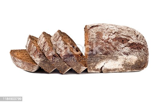 Sliced rye bread isolated on white background
