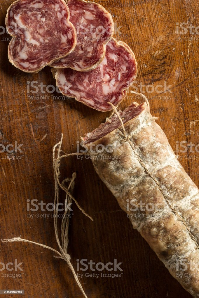 Sliced salame stock photo