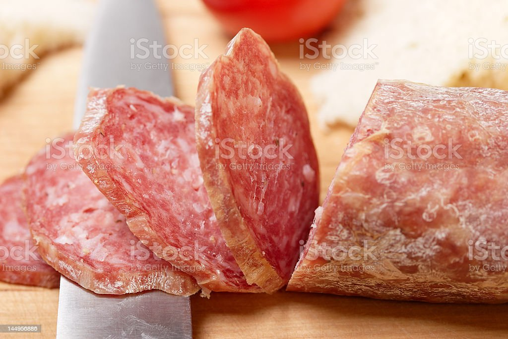sliced salami royalty-free stock photo