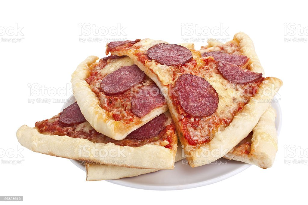 sliced salami pizza royalty-free stock photo