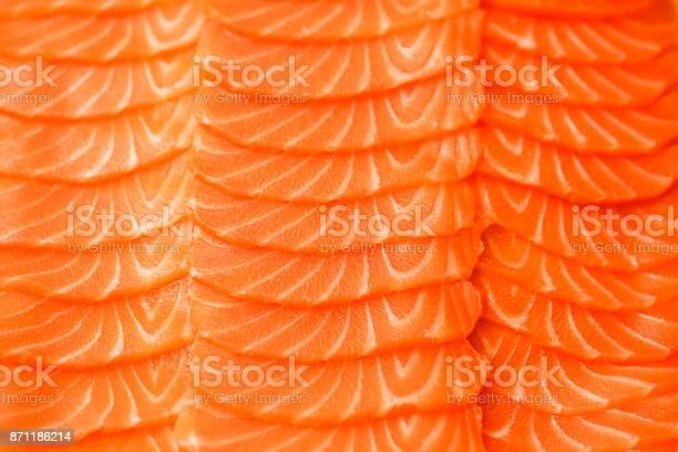 Filete De Salmón En Rodajas Foto De La Textura Del Primer Plano Fotografía Macro Antecedentes Del Concepto De Alimentos Foto de stock y más banco de imágenes de Salmón - Pescado
