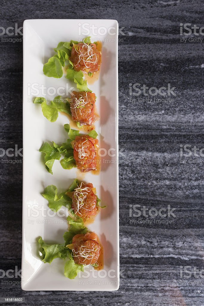 Sliced salmon spicy cocktail catering royalty-free stock photo
