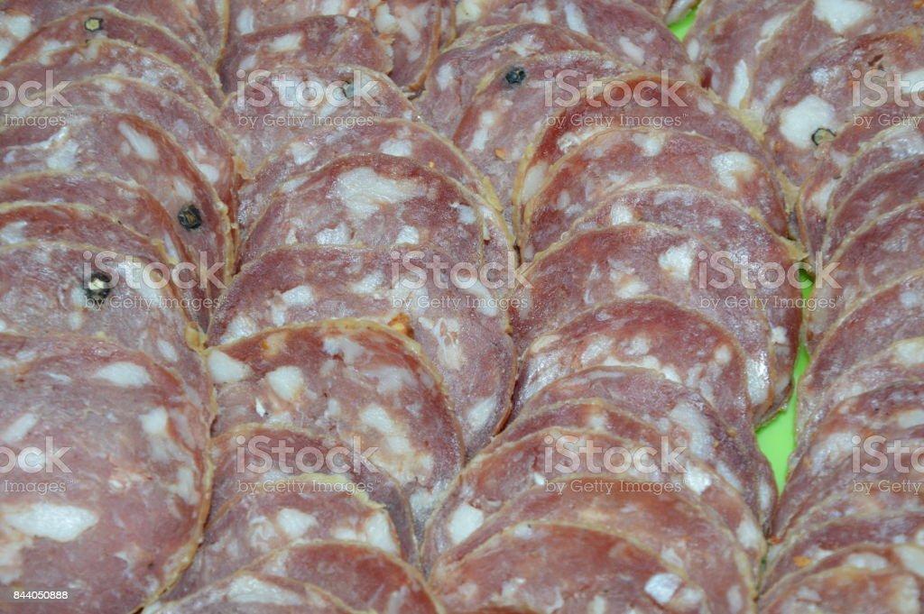 Sliced sausage stock photo