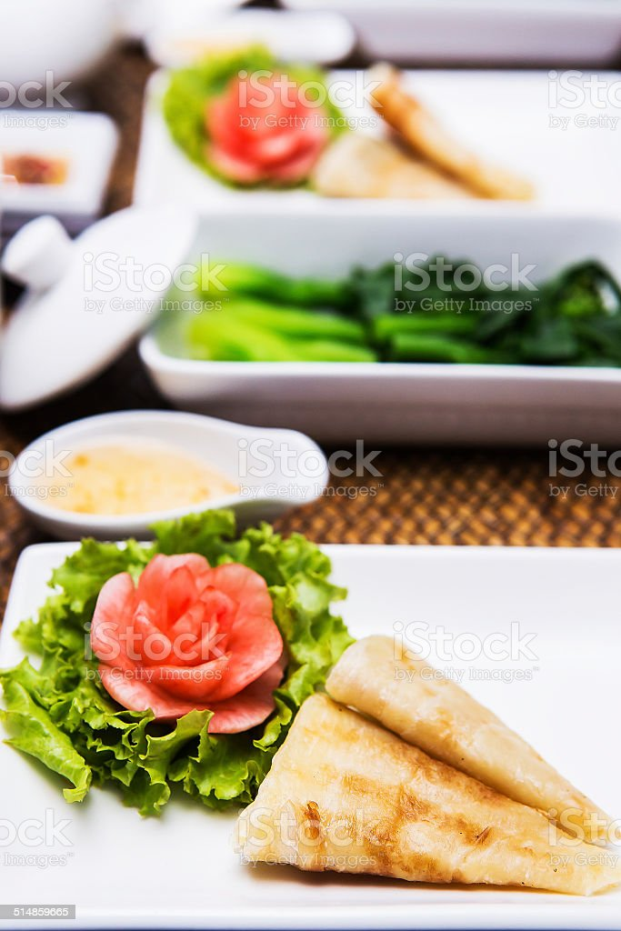 sliced sheets of dried and crispy pork stock photo