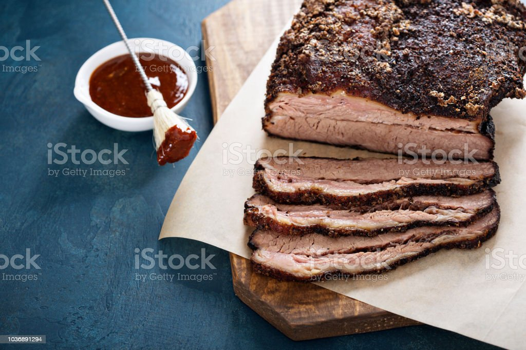 Sliced slowly cooked brisket stock photo