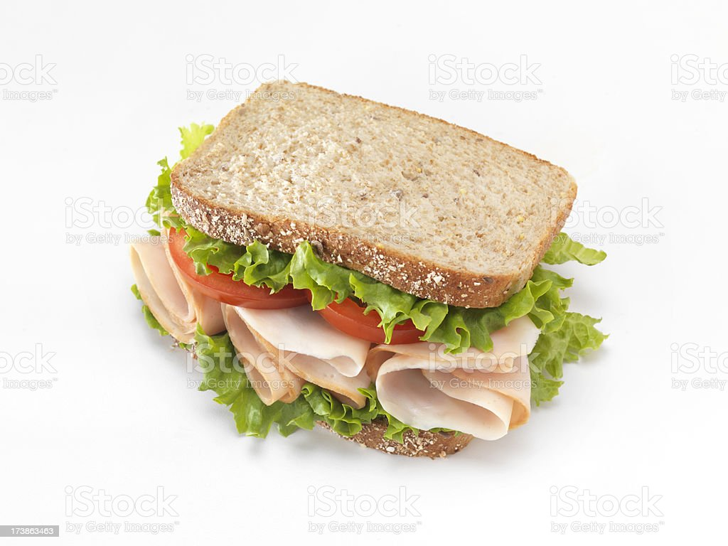Sliced Smoked Deli Turkey Sandwich royalty-free stock photo