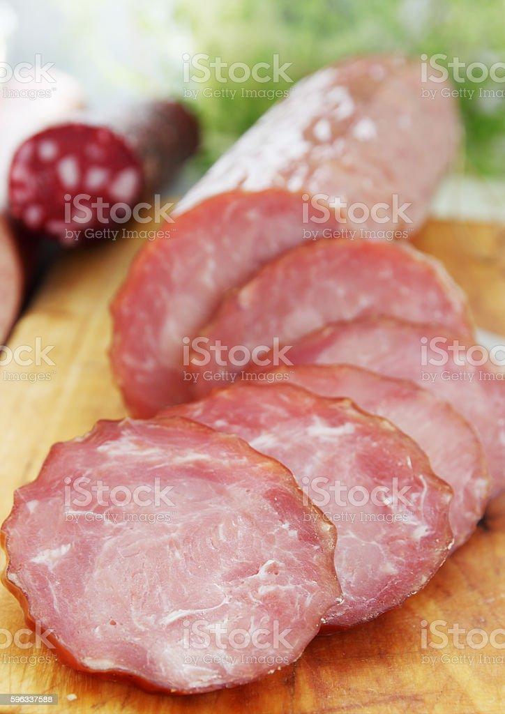 sliced smoked sausage royalty-free stock photo