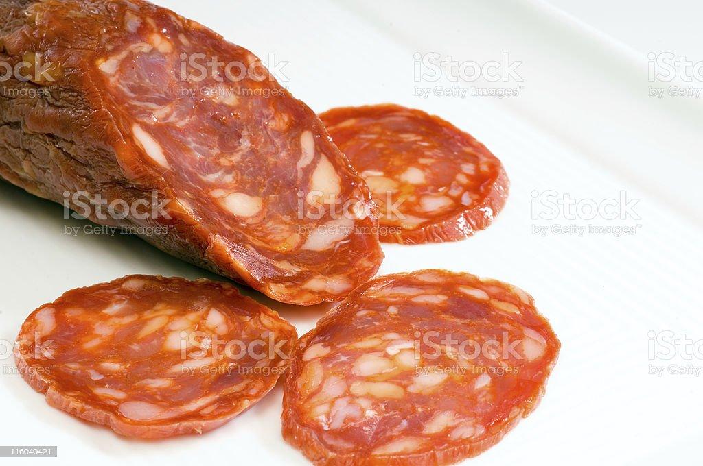 Sliced Sopressata stock photo