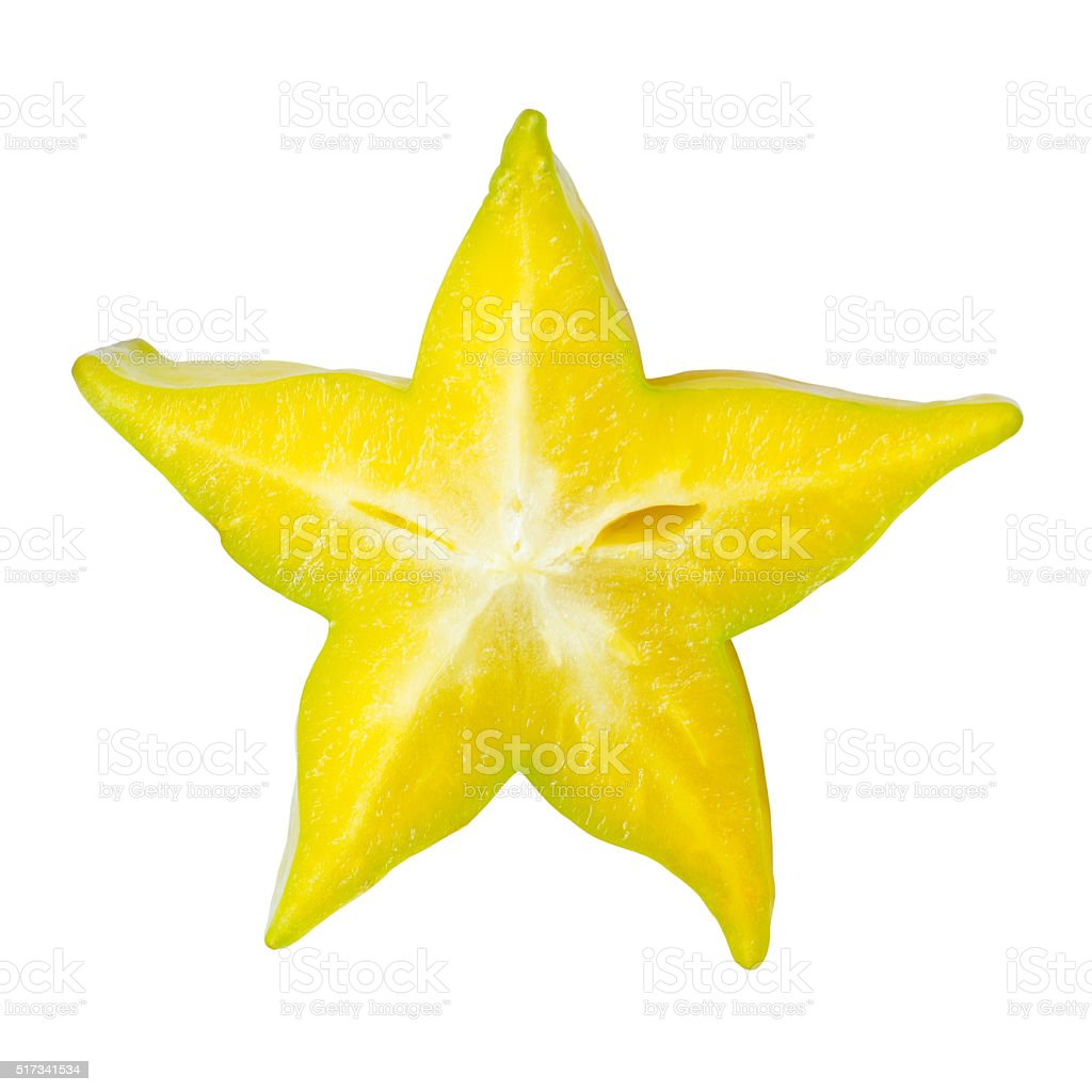 Sliced star apple or starfruit stock photo
