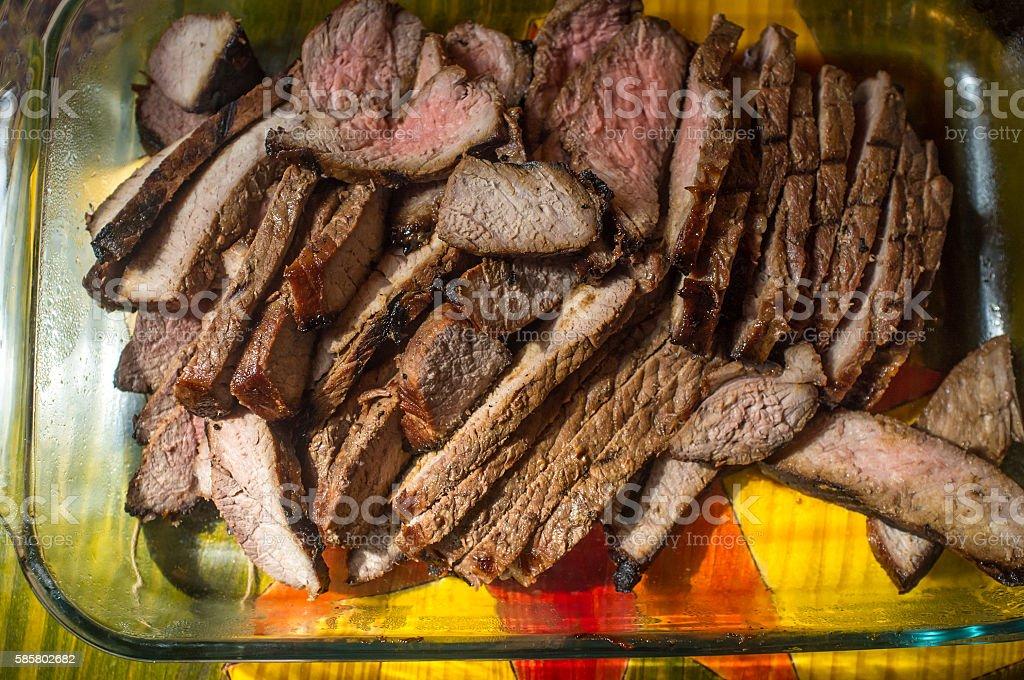 Sliced Steak Medium Rare stock photo