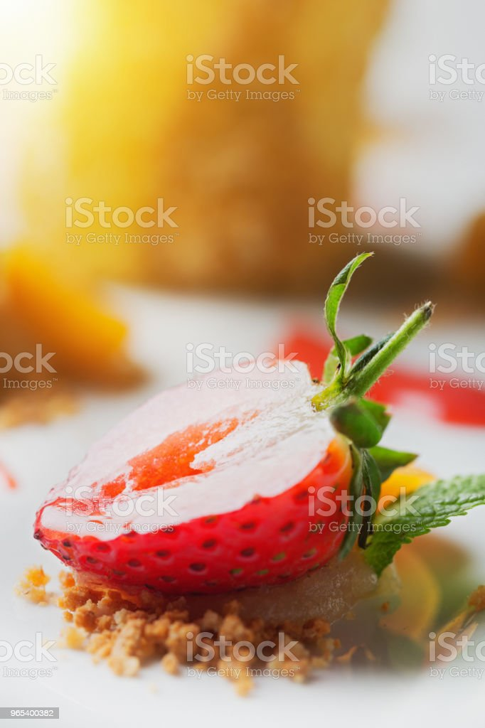 Sliced strawberry, part of restaurant dessert zbiór zdjęć royalty-free
