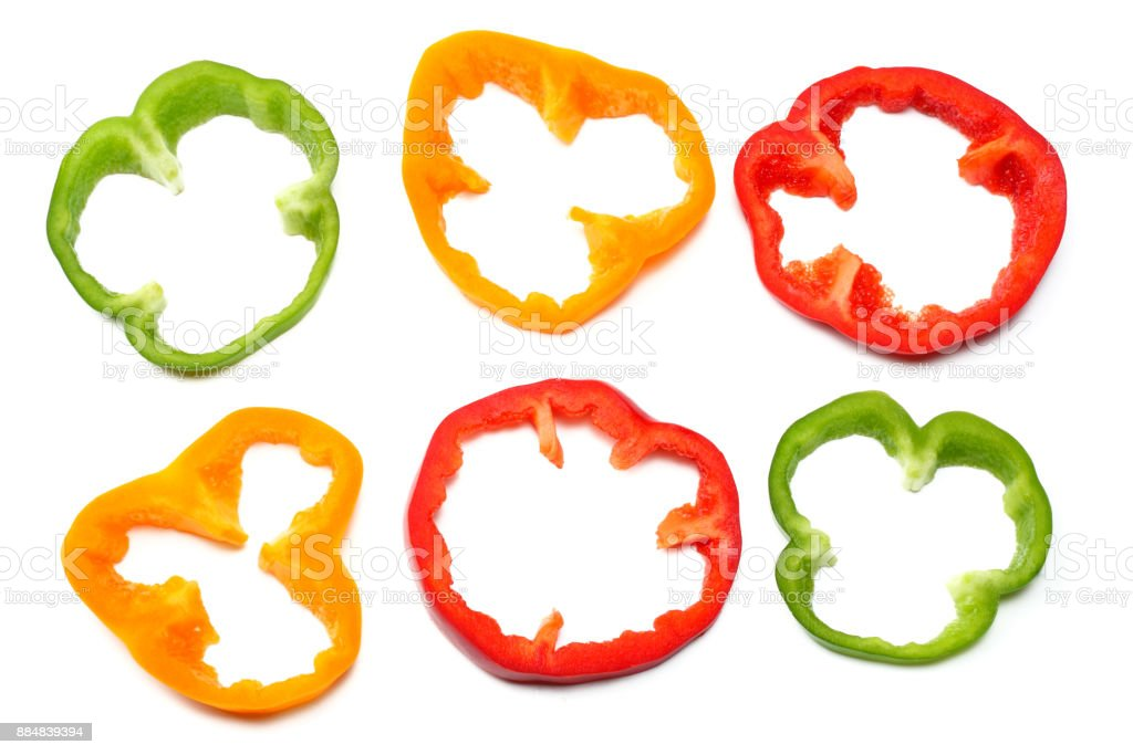 sliced sweet bell pepper isolated on white background. top view stock photo