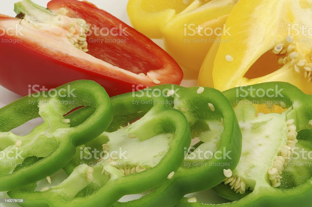 Sliced sweet bell peppers royalty-free stock photo